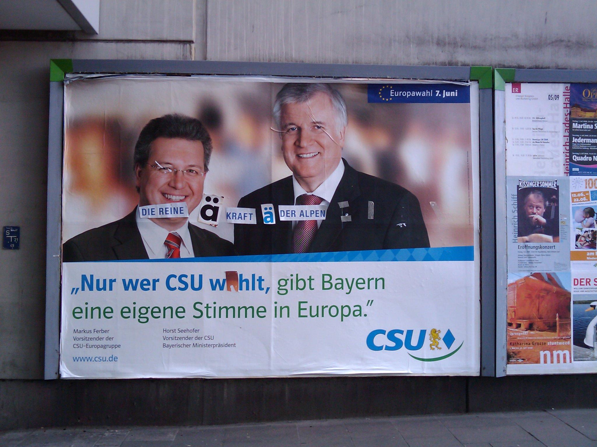 Wahlplakat der CSU in Erlangen